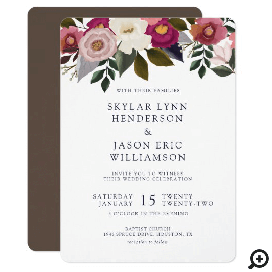 Elegant Moody Floral Watercolor Rustic Wedding Invitation