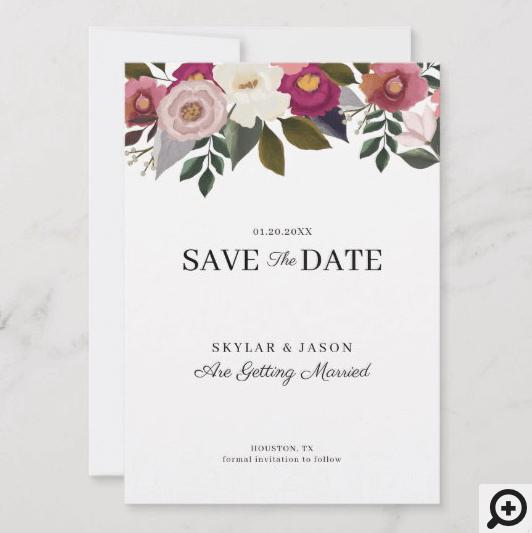 Elegant Moody Floral Watercolor Rustic Wedding Save The Date