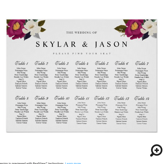 Elegant Moody Floral Watercolor Wedding Seating Poster
