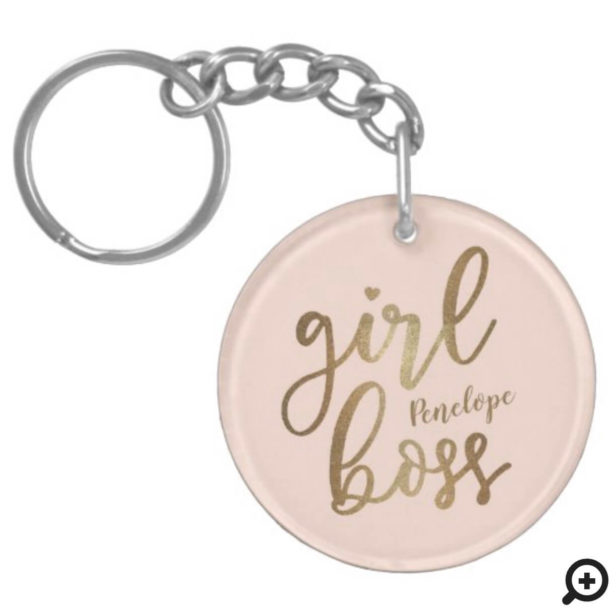 Girl Boss Gold Brush Script & Monogram Blush Pink Keychain