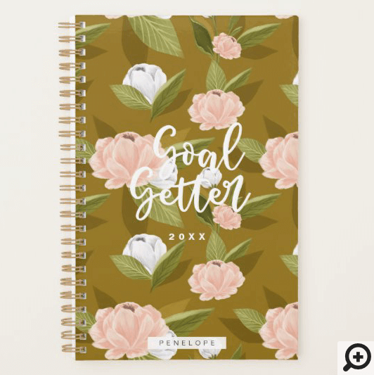 Goal Getter Pink & Golden Watercolor Floral Custom Planner