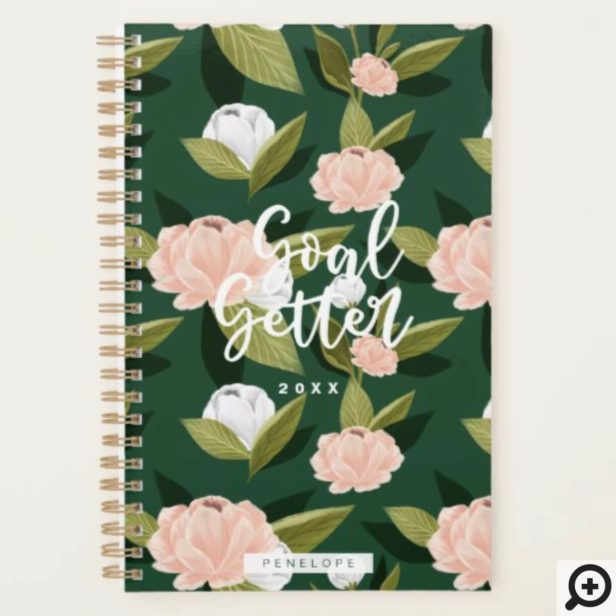 Goal Getter Pink & Hunter Watercolor Floral Custom Planner