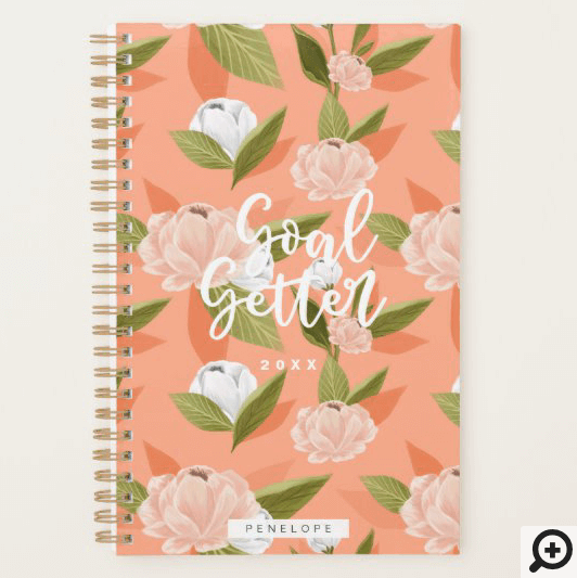 Goal Getter Pink & Peach Watercolor Floral Custom Planner