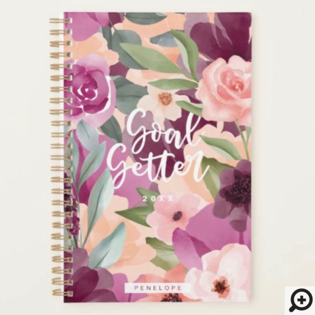 Goal Getter Violet & Pink Watercolor Floral Custom Planner