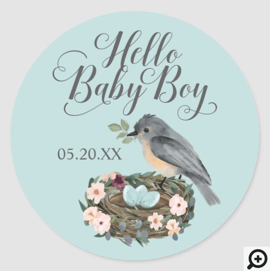 Hello Baby Boy Floral Bird's Nest Baby Shower Classic Round Sticker