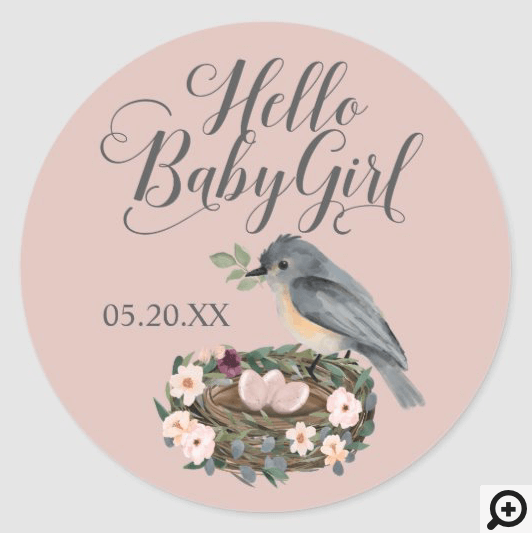 Hello Baby Girl Floral Bird's Nest Baby Shower Classic Round Sticker