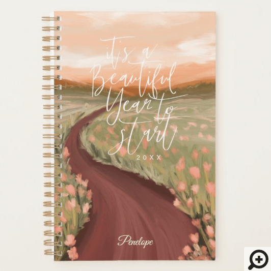 Its A Beautiful Year To Start Floral Meadow Path Planner Illustration