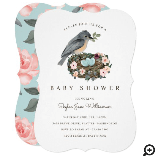 It's A Boy Floral Bird's Nest Baby Shower Invitation