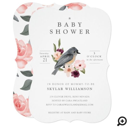 It's A Girl Floral Bird's Nest Baby Shower Invitation