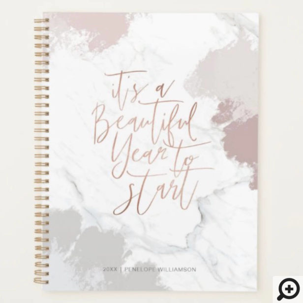 It's a Beautiful Year to Start Mauve & Grey Marble Planner