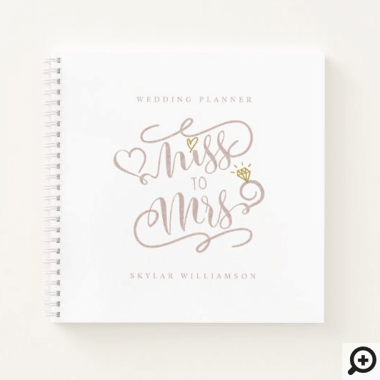 Miss to Mrs Watercolor Floral Wedding Planner Notebook