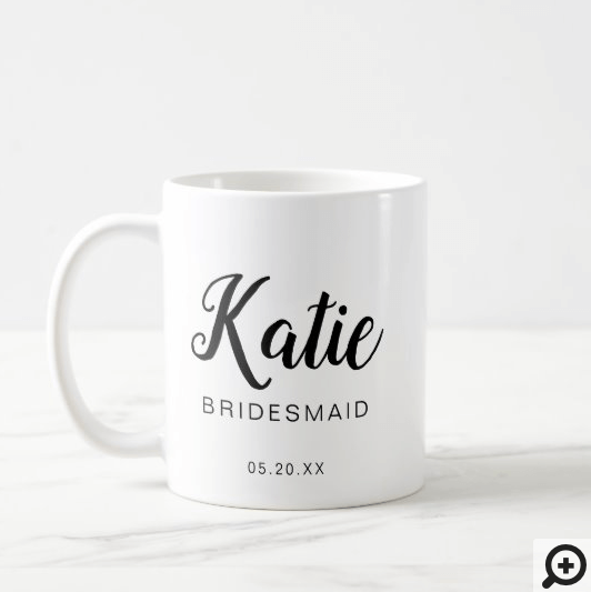 Modern & Minimal Typographic Bridesmaid Monogram Coffee Mug