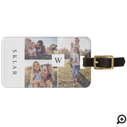 Modern Monogram Custom Family Photo Collage Luggage Tag