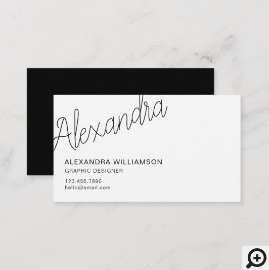 Modern Typographic Minimal Black And White Business Card