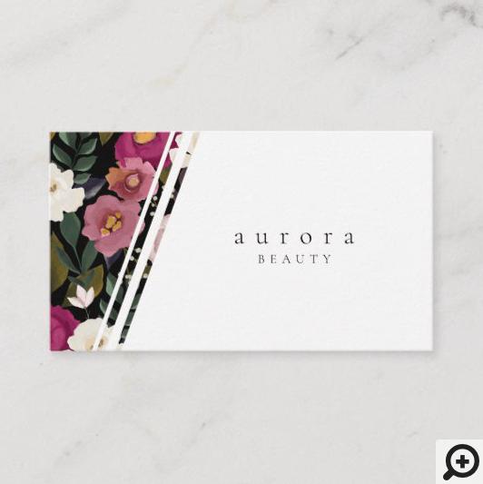 Moody & Elegant Watercolor Floral Arrangement Business Card