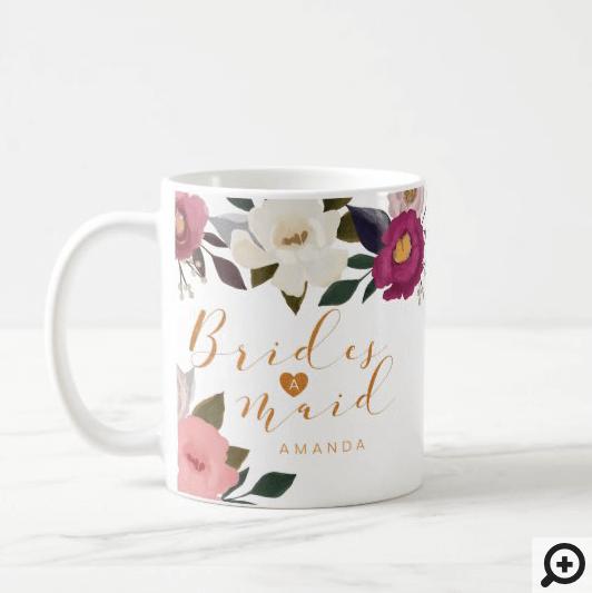 Moody Floral Watercolor Bridesmaid Monogram Coffee Mug