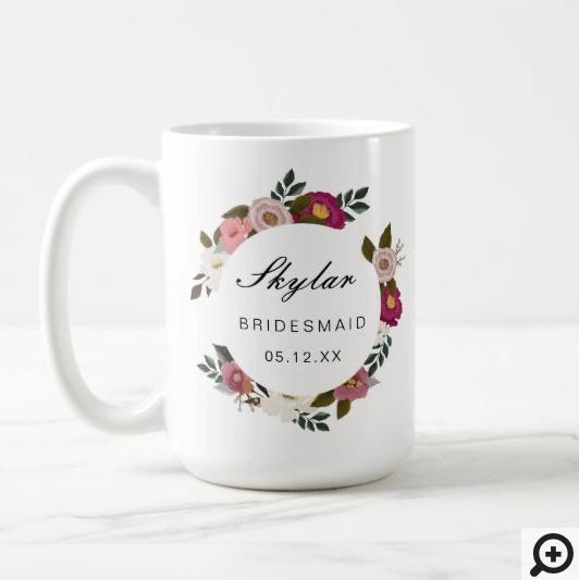 Moody Floral Watercolor Wreath Bridesmaid Coffee Mug