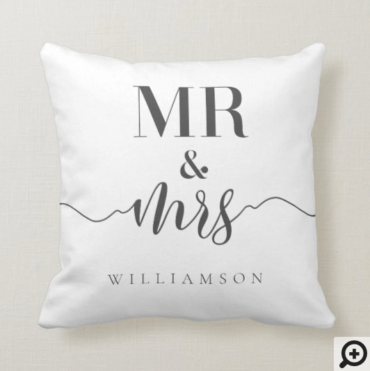 Mr & Mrs Typographic Floral Rose & Sage Greenery Throw Pillow