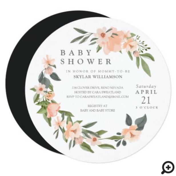 Peach Watercolor Floral Wreath Baby Shower Invitation