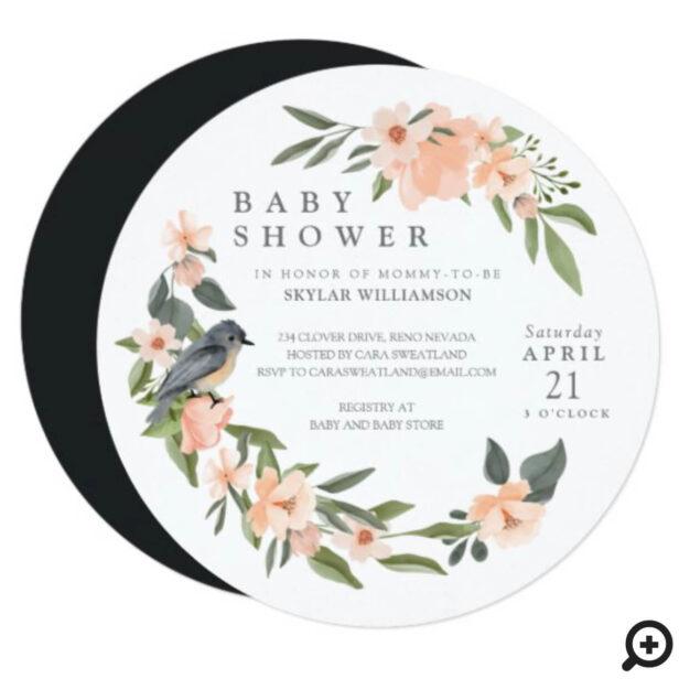 Peach Watercolor Floral Wreath Bird Baby Shower Invitation