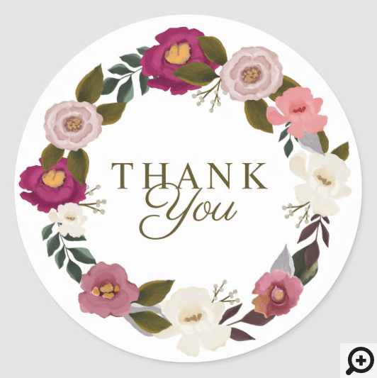 Thank You Moody Floral Watercolor Classic Round Sticker