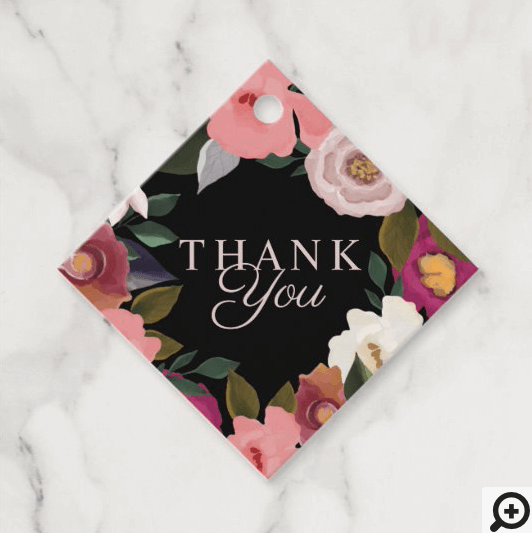 Thank You Moody Floral Watercolor Frame Black Favor Tags