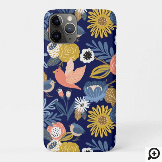 Vintage Abstract Floral Botanical & Bird Pattern Case-Mate iPhone Case
