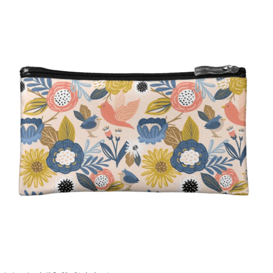 Vintage Abstract Floral Botanical & Bird Pattern Cosmetic Bag