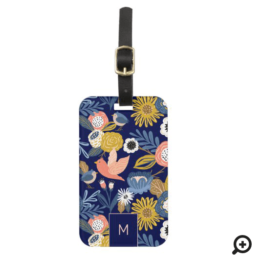 Vintage Abstract Floral Botanical & Bird Pattern Luggage Tag