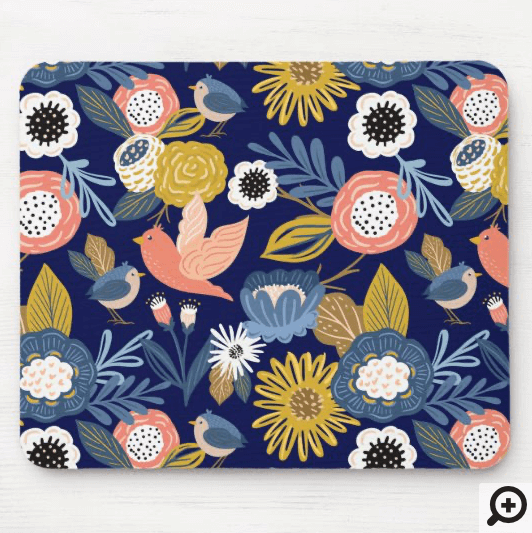 Vintage Abstract Floral Botanical & Bird Pattern Mouse Pad