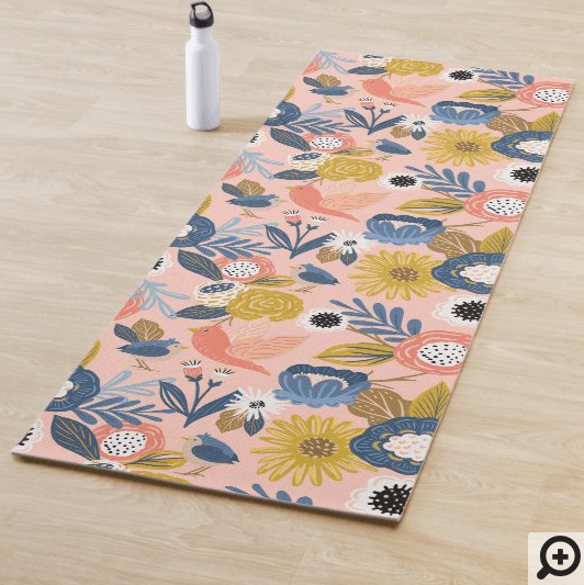 Vintage Abstract Floral Botanical & Bird Pattern Yoga Mat1
