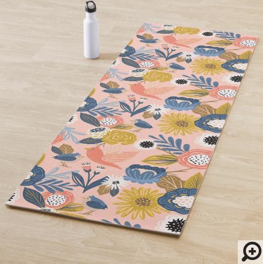 Vintage Abstract Floral Botanical & Bird Pattern Yoga Mat1