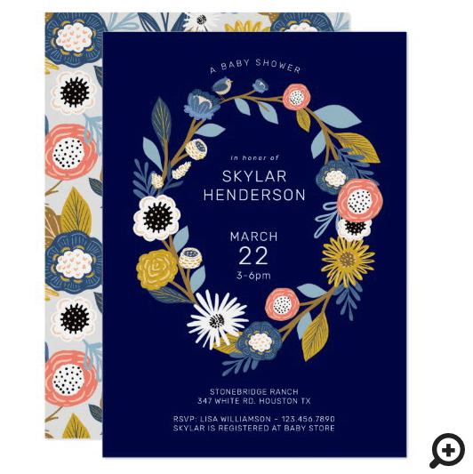 Vintage Bohemian Floral Wreath Baby Bird Shower Invitation navy Blue