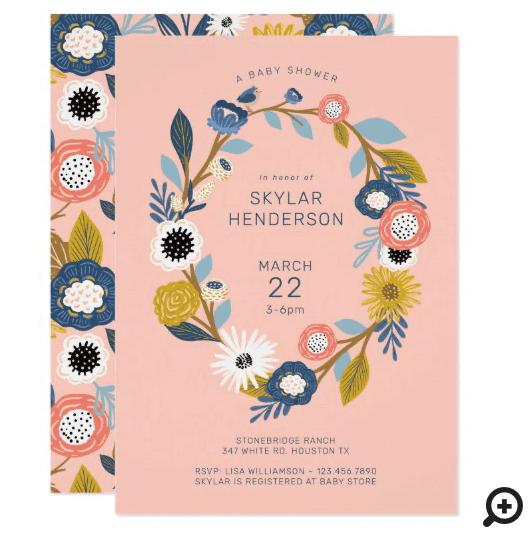 Vintage Bohemian Floral Wreath Baby Bird Shower Invitation