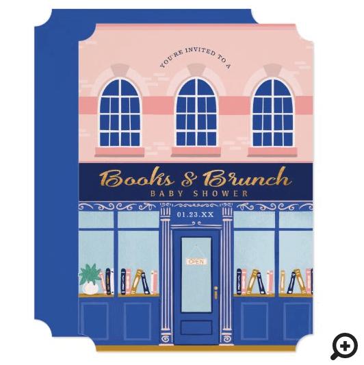 Vintage Book Store Books & Brunch Baby Shower Invitation