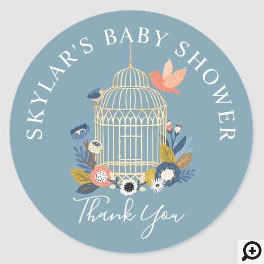 Vintage Floral Birdcage Baby Bird Shower Thank You Classic Round Sticker
