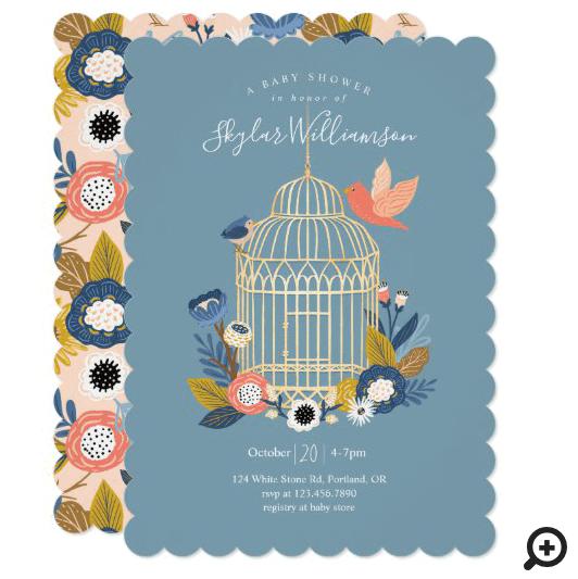 Vintage Floral Birdcage Mom & Baby Bird Shower Invitation