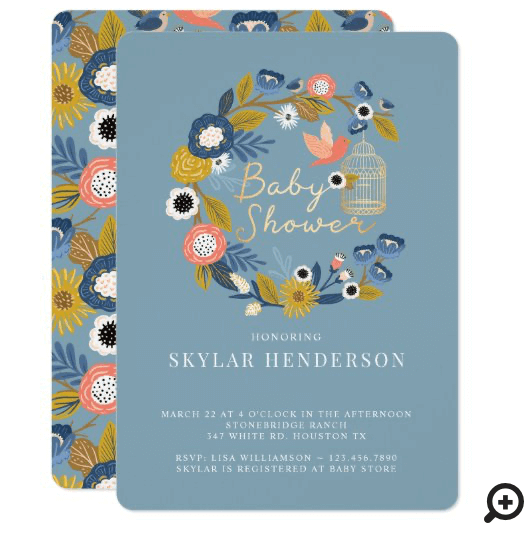 Vintage Floral Wreath Birdcage Mom & Baby Bird Invitation Blue