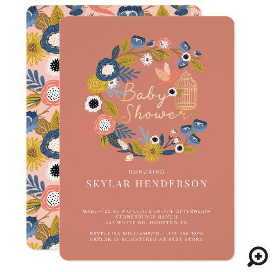 Vintage Floral Wreath Birdcage Mom & Baby Bird Invitation Coral Pink