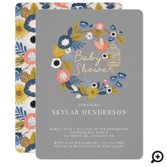 Vintage Floral Wreath Birdcage Mom & Baby Bird Invitation Grey