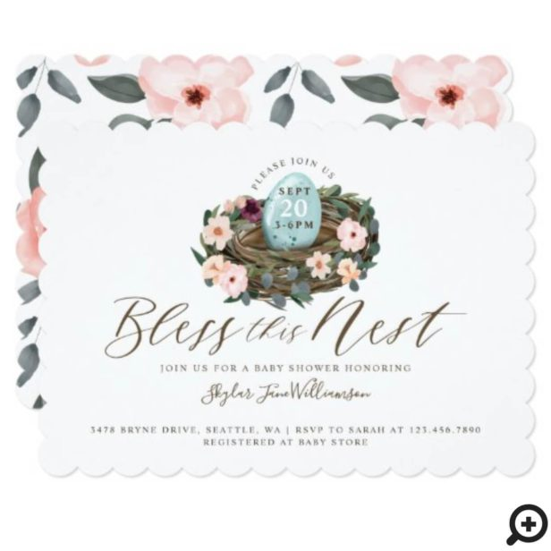 Watercolor Floral Baby Boy Bird Nest Baby Shower Invitation
