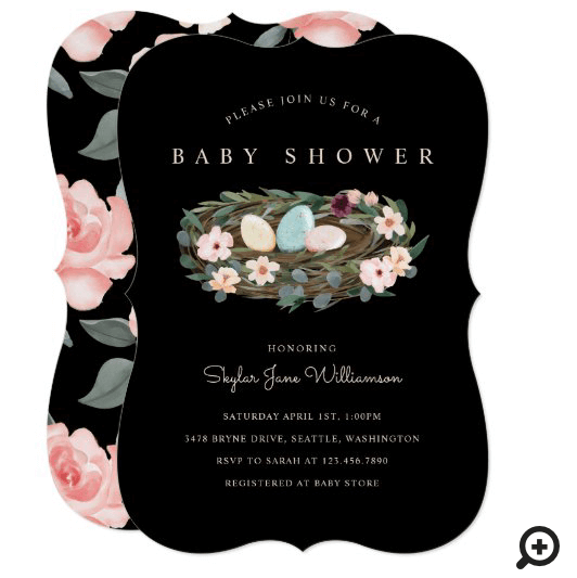 Watercolor Floral Bohemian Bird's Nest Baby Shower Invitation