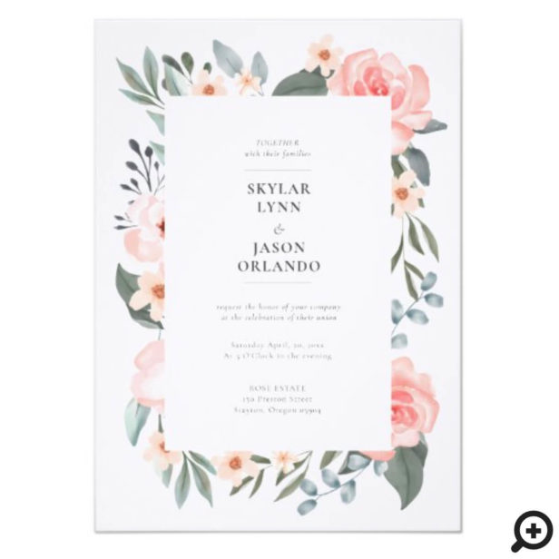 Watercolor Floral Rose & Sage Greenery Wedding Invitation