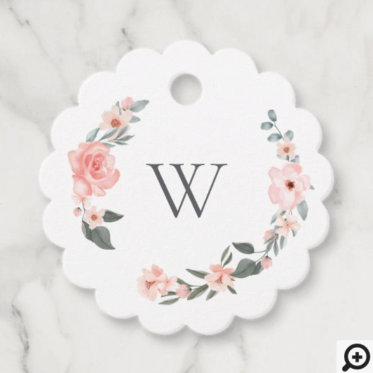 Watercolor Floral Rose & Sage Monogram Wreath Favor Tags
