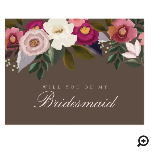 Will You Be My Bridesmaid? Moody Floral Watercolor Postcard