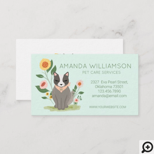 Adorable Floral Cat Pet Care Services Green Business Card