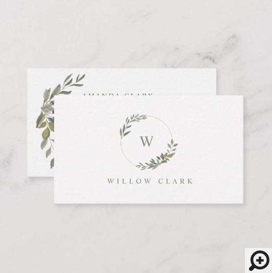 Beautiful Monogram Greenery Watercolor wreath Business Card