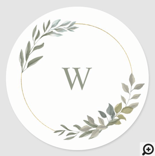 Beautiful Monogram Greenery Watercolor wreath Classic Round Sticker