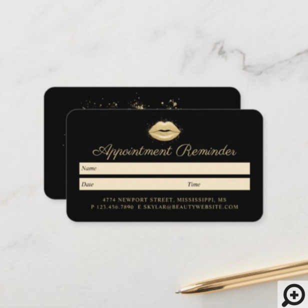 Beauty Gold Dusted Lips Black & Gold Luxurious Appointment Card
