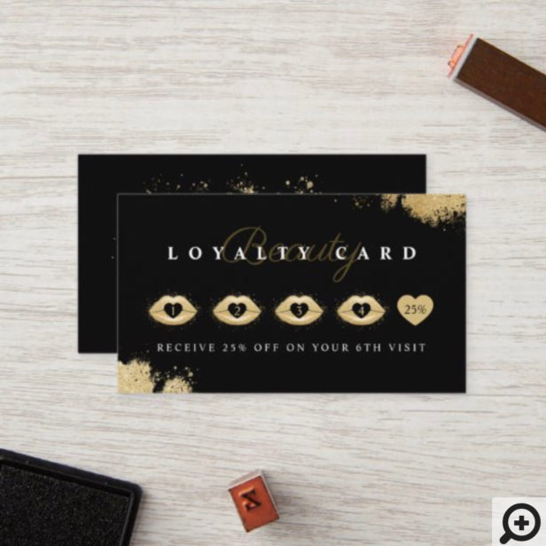 Beauty Gold Dusted Lips Black & Gold Luxurious Loyalty Card